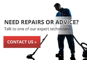 NEED REPAIRS OR ADVICE? Talk to one of our expert technicians | CONTACT US | man vacuuming